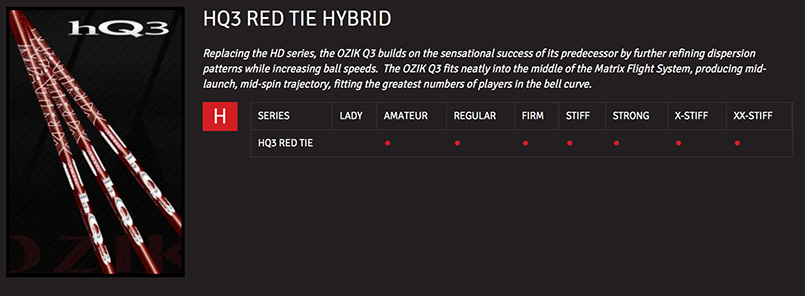 Matrix HQ3 Red Tie Hybrid Shaft