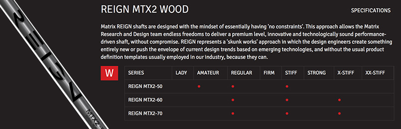 Matrix Reign MTX2 Wood Shaft